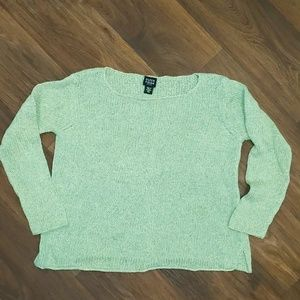 Eileen Fisher Petite cable knit green sweater